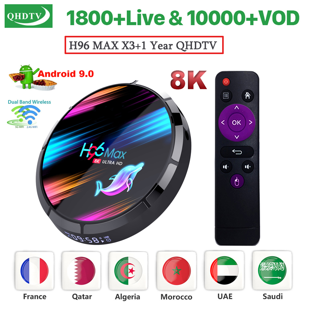 H96 <font><b>MAX</b></font> X3 <font><b>Android</b></font> 9.0 Smart <font><b>TV</b></font> BOX with 1Year IPTV Subscription QHDTV Code Amlogic S905X3 Wifi 8K Home Media Player Set Top Box image