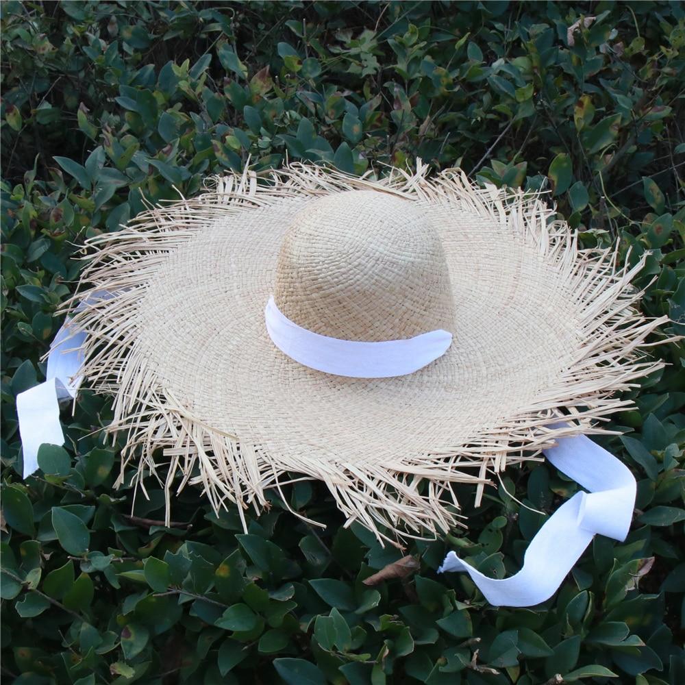 Fashionable Women Floppy Raffia Beach Hats With Neck Band Visor Boater Hat Summer Big Brim Panama Hat Vacation Gift Wholesale