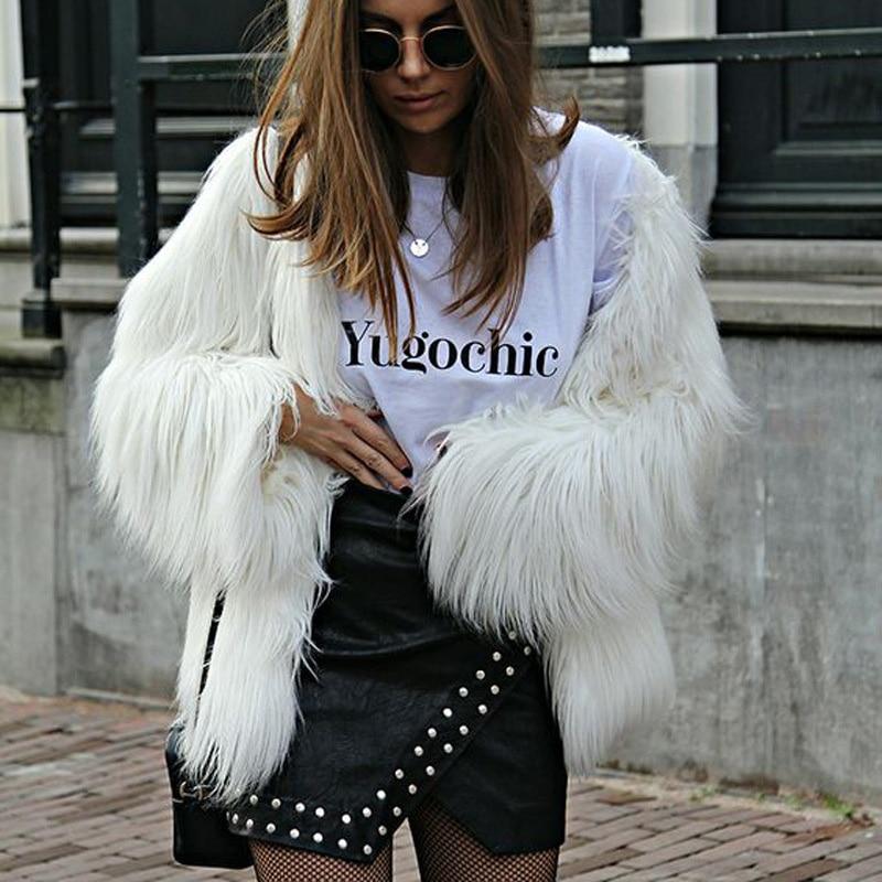 Fashion Winter Furry Faux Fur Coat Women Teddy White Warm Long Sleeve Femme Outerwear Coat Jacket Hairy Collarless Overcoat New