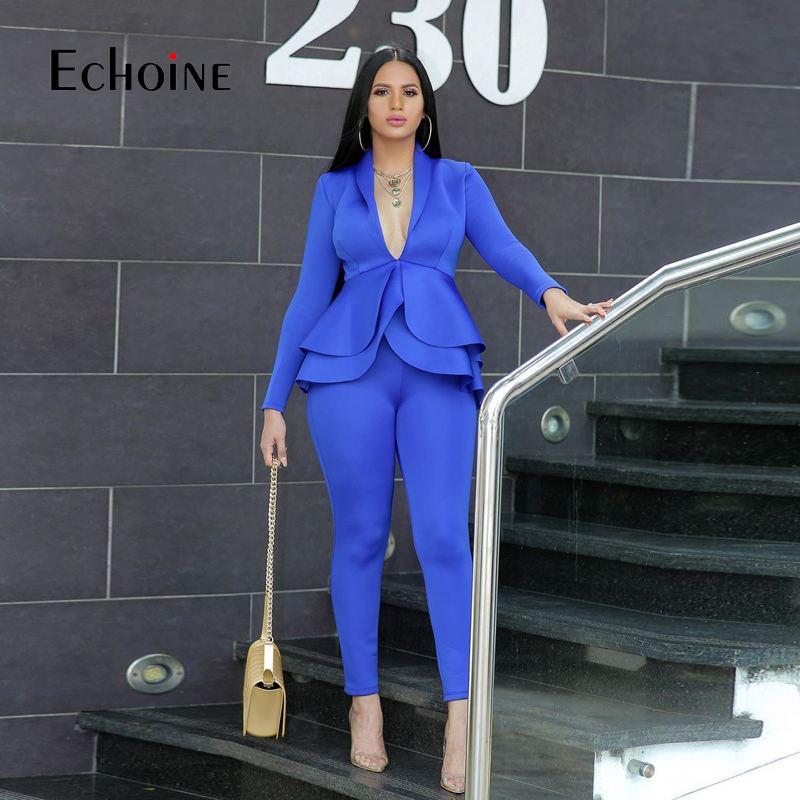 Winter 2 Piece Set Blazer Women Work Wear Full Sleeve Ruffles Pencil Pants Suit Two Piece Set Office Lady Outfits Baclk Uniform