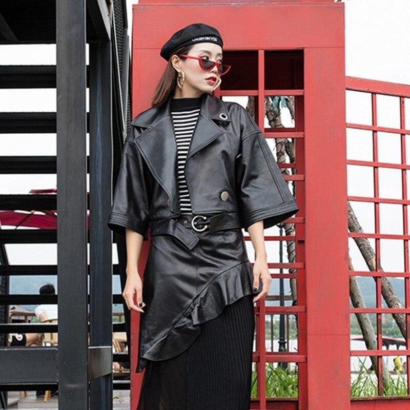 Fashion Women Fashion Short Sleeve Sheepskin Jacket Loose Street Coat Collar Back Leather Jacket