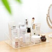 Acrylic Makeup Organizer Cosmetic Plastic Storage Box Desk Bathroom Cosmetic Storage Case Office Organizer Box