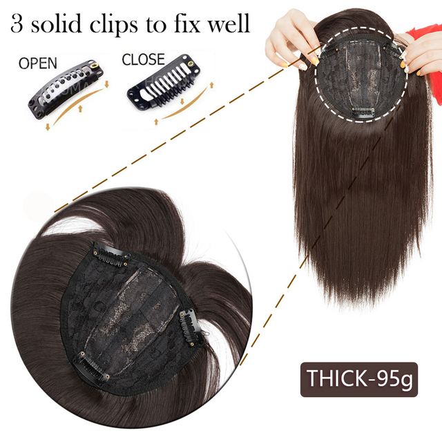 11Inch Synthetic Hair Clip In Toupee Hairpieces Straight Topper Hair With Bangs For Women Clip On Hair Extension 16 Colors|Synthetic Clip-in One Piece|   -