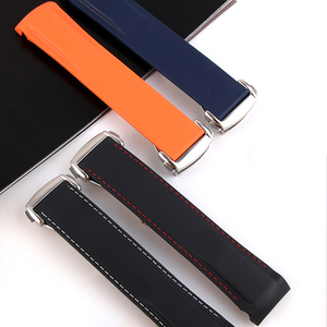 Image 2 - Curved End 20mm 22mm 19mm 21mm Rubber Silicone Watch Bands For Omega Watch AT150 MasterSea 007 for Seiko Strap Brand Watchband