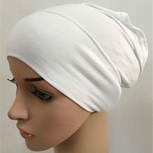 Мусульманских Эластичный Тюрбан Кепки мягкая обработанная вискоза, внутренняя шапочки под хиджаб исламский шарф дамская шляпа без полей Женская повязка на голову крышка для камеры плат mujer