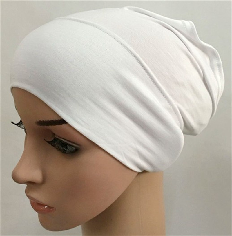 2019 Muslim Stretch Turban Cap Soft Modal Inner Hijab Caps Islamic Underscarf Bonnet Hat Female Headband Tube Cap Turbante Mujer