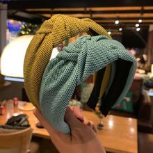 Jednokolorowa Retro dzianinowa szeroka opaska na głowę opaska na głowę kobiety Korea wiązana opaska do włosów Turban do zmywania twarzy akcesoria do włosów