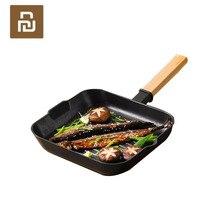 샤오미 Mijia Yuewei 크리 에이 티브 스테이크 냄비 프라이팬 나무 손잡이 접이식 비 스틱 프라이팬 주방 가족을위한 빠른 열 전도