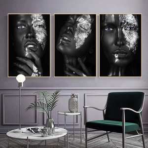 Sliver Sexy Black Dark Skinned Woman Portrait Canvas Painting Posters and Prints Cuadros Wall Art Picture for living Room