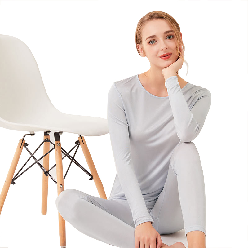 Women 100% Real Natural Silk Suit Long Johns Healthy Underwear Intimates sets