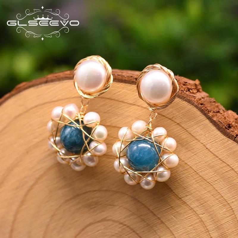 GLSEEVO Natural Fresh Water Pearl Round Flower Drop Earrings For Women Natural Kyanite Dangle Earrings Handmade Jewelry GE0911