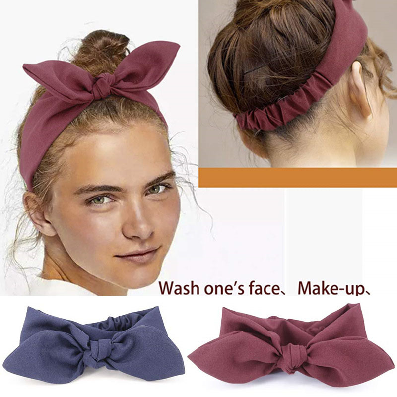 Women Hair  Accessories Vintage Hair Bands For Girls Fashion Headband Knotted Bow Soft Solid Elastic  Headdress Ladies Hoop