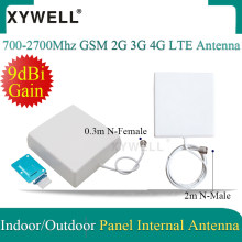 700-2700Mhz GSM 2G 3G 4G LTE Antenna 9dBi Gain Indoor Panel Internal Antenna with 2m/0.3m cable For Mobile Signal Booster