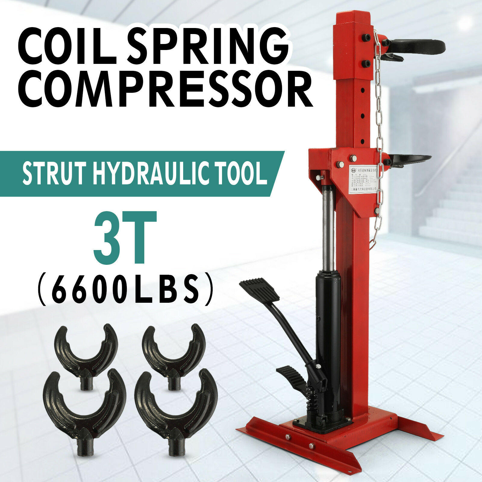 3T  Auto Strut Car Safe Hydraulic Spring Compressor System 495-820mm Adjustable Size For Car Repairing