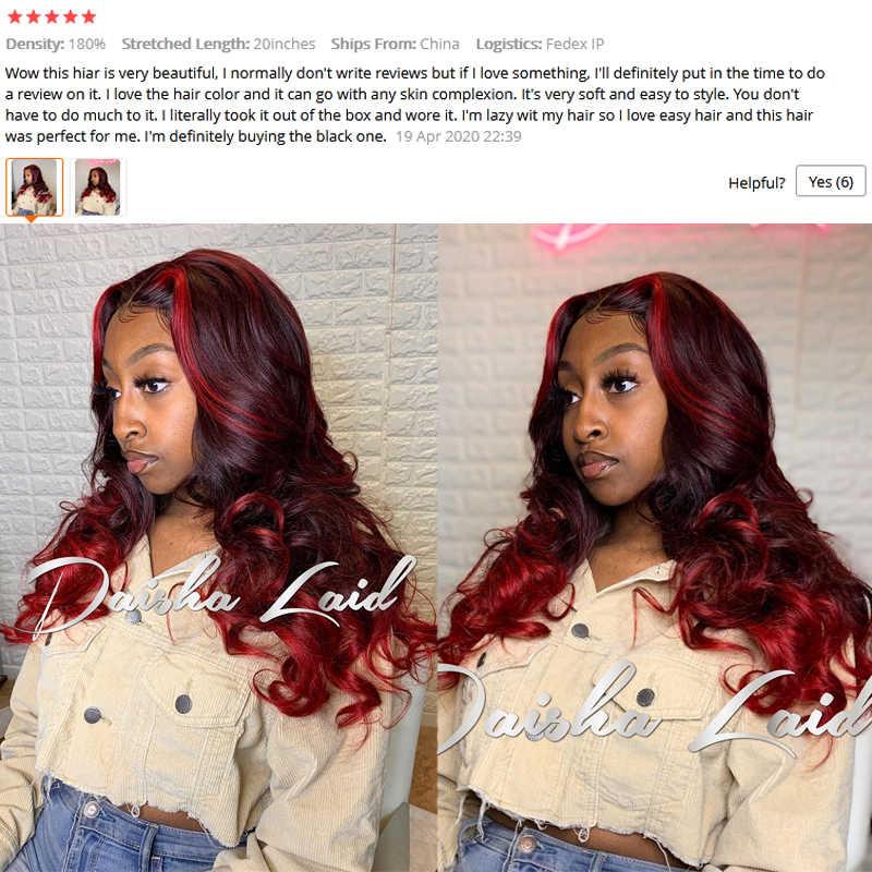 Ombre, Color rojo destacado, 360 pelucas con encaje Frontal, pelucas de encaje completo, Color borgoña, ondulado brasileño, Remy sin pegamento 13X6, peluca con malla Frontal