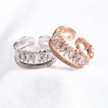 Korean version of the temperament wild color ring double opening adjustable zircon ring