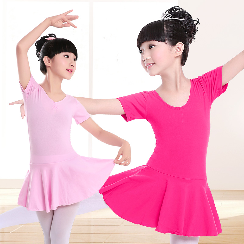 Kids Girls Cotton Gymnastics Leotard Ballet Dress Kids Short Sleeve Dance Leotard Tutu Dancewear Ballerina Clothes for Girls