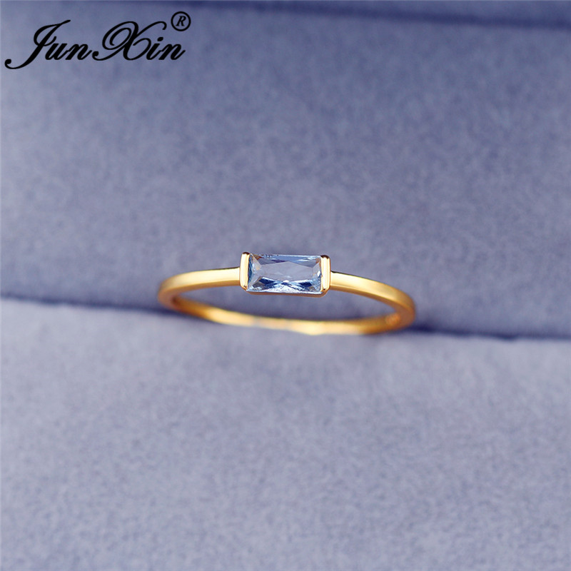 Minimalist Thin Ring With Stone White Gold Yellow Gold Small Rectangle Zircon Simple Wedding Rings For Women Stacking Ring Cz