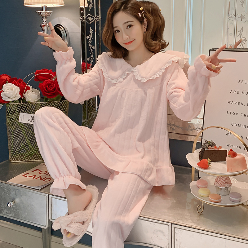 Coral Velvet Pajamas Women's Autumn & Winter Thick Cute Peter Pan Collar Flannel-Outer Wear Large Size Spring Homewear Set