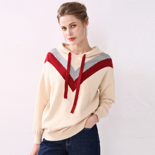 women hoodies sweatshirts cashmere knitted casual short full sleeves autumn winter geometric pullover