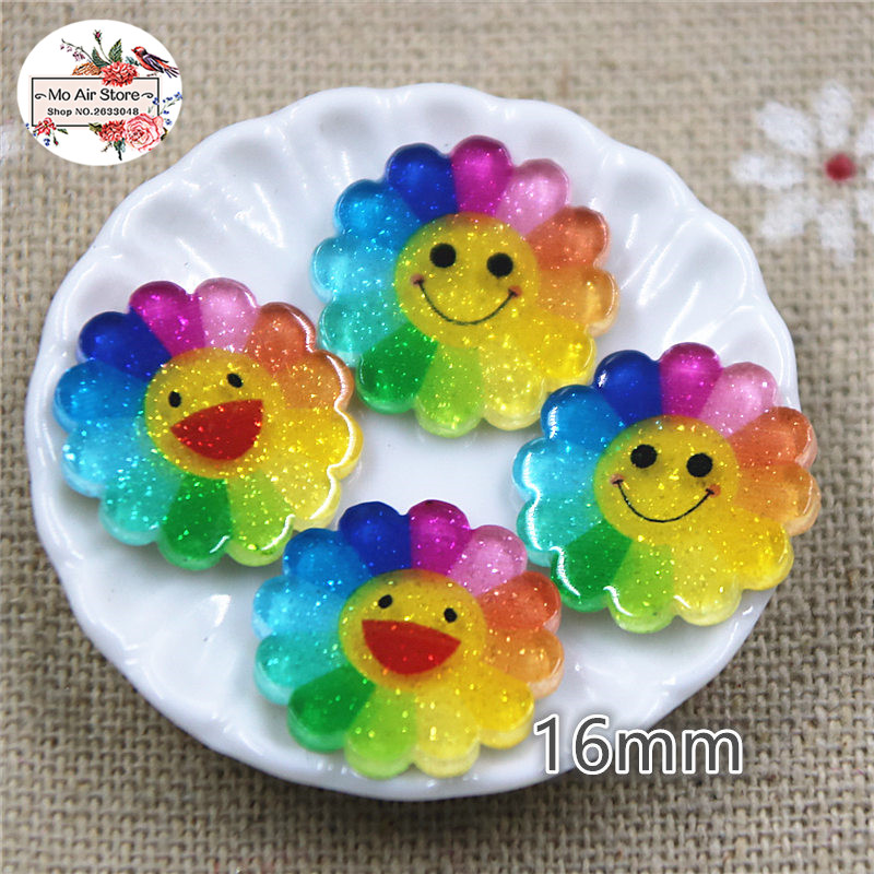 15mm 20pcs Multicolor Sunflower Resin Planar Flatbacks Scrapbooking Hair Bow Center For DIY Craft