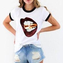 watercolor pink sexy lips print t-shirt women clothes 2019 vogue white t shirt femme harajuku kawaii oversized tshirt female