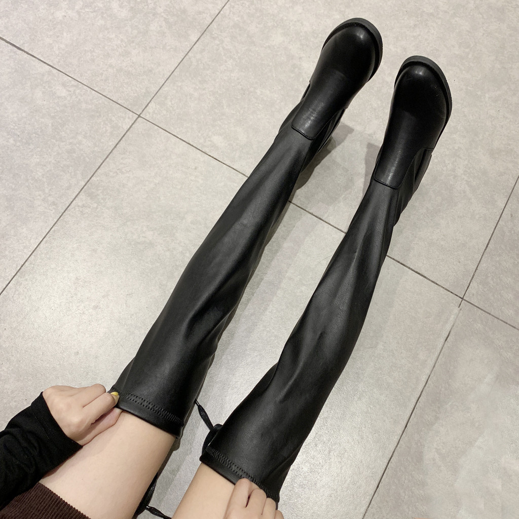 Thigh High Boots Female Winter Leather Boots Women Over The Knee Boots Flat Stretch Sexy Fashion Shoes 2019 Black Botas Mujer