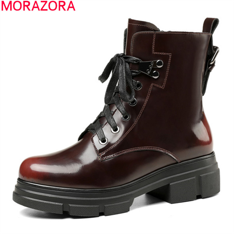 MORAZORA 2020 Genuine leather boots square heels round toe ladies shoes fashion lace up comfortable ankle boots for woman