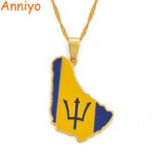 Necklaces Anniyo Caribbean Barbados Flag-Pendant Sea Jewelry Ethnic-Gifts Gold-Color