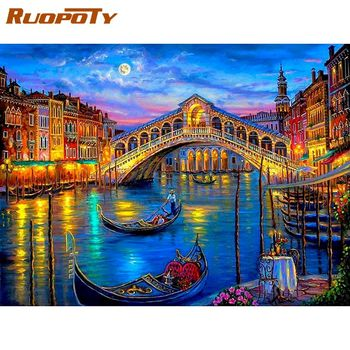 RUOPOTY 60x75cm Bridge And Boat River Scenery Oil Painting By Numbers Diy Framed Acrylic Pigment Canvas Home Decor Unique Gift