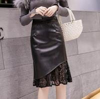 Lace stitching High waist package hip skirt Women Casual Knee Length Slim Skirts new autumn Black Ladies PU Pencil Skirts r2068