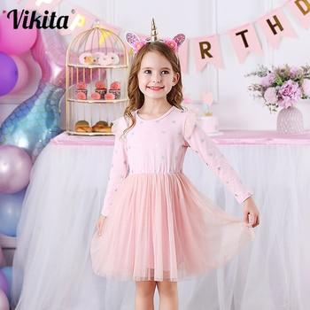 VIKITA Brand New Children Princess Dress Girls Star Tutu Dresses Baby Girl Long Sleeve Clothes Kids Party for