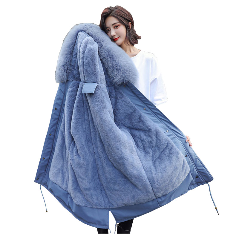 Fur Collar Hooded Student Winter   Down     Coat   Jacket Long Thick Warm Women Wadded Parkas Heavy Cotton padded   Coat