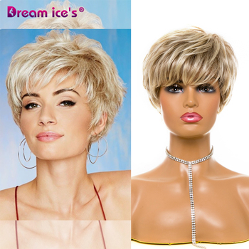 DREAM.ICE'S Short Blonde Wig Layered Curly Hair MIx Brow Straight Hair Synthetic Man Cosplay Wigs For Black Women Wig With Bangs stylish medium layered capless straight black browm mixed synthetic wig for women