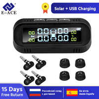 E-ACE Solar TPMS Car Tire Pressure Alarm Monitor System Display Intelligent Tyre Pressure Temperature Warning with 4 sensors