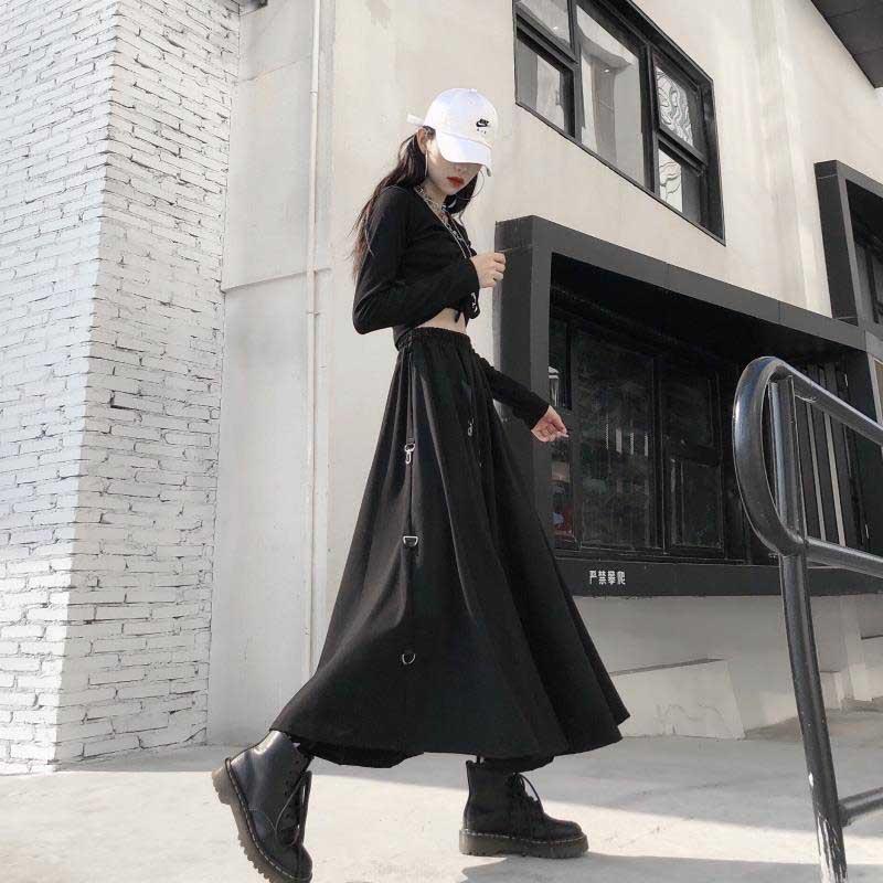 NiceMix Women Sexy High Waist Harajuku Gothic Midi Long Punk Streetwear Ring Ribbon Loose Skirt Korean Tracksuit Black Vintage H