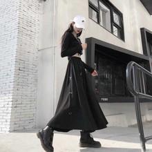 NiceMix kobiety Sexy wysokiej talii Harajuku Gothic Midi długi Punk Streetwear pierścień wstążka luźna spódnica koreański dres czarny Vintage H tanie tanio COTTON 33498 Naturalne WOMEN Patchwork Plisowana Kolan Anglia styl NONE