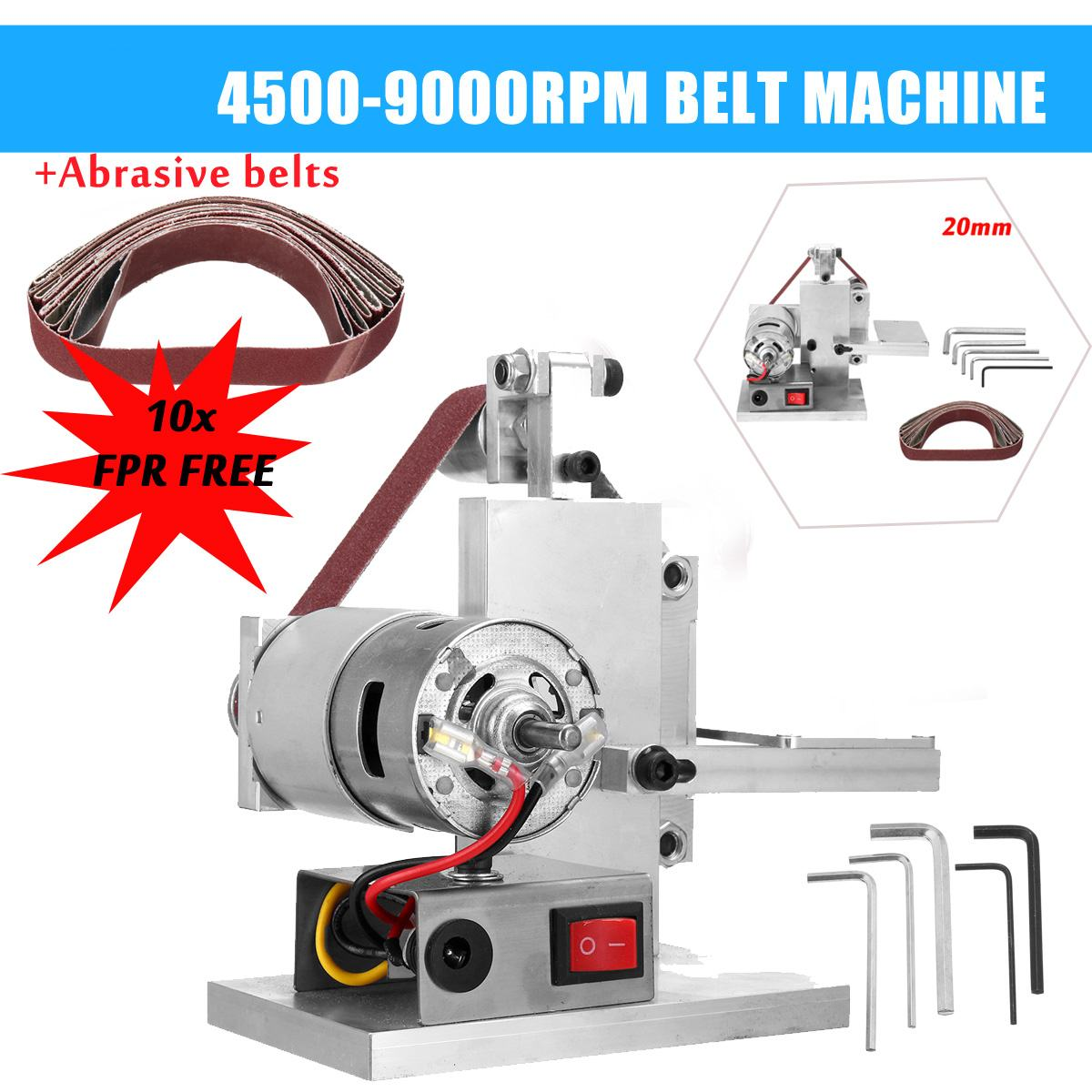 Doersupp 110-240V DIY Mini Belt Sander Knife Edge Sharpener Grinding Polishing Machine 60/80/120/150/180/240/320/400/600/800mesh