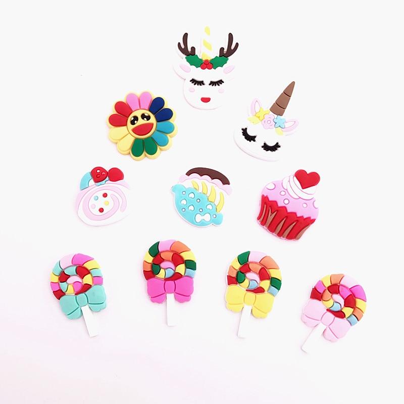 Cute Carton Candy Cake Unicorns Sunflowers DIY Accessories  Flatback Diy Center Crafts Hair Accessory 30pcs/lot