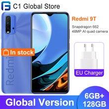 В наличии глобальная версия Xiaomi Redmi 9 T-9 T, мобильный телефон 6 ГБ ОЗУ 128 ГБ ROM Snapdragon 662 48MP AI quad камера 6000 мАч батарея