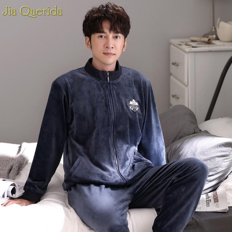 New Retro Sporty Mens Leisure Home Suits Winter Warm Quality Island Velvet Plus Size SOCCER Embroidery Zipper Jacket Pyjamas Men