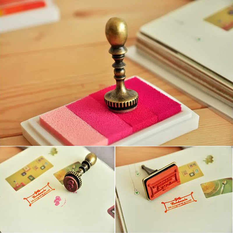 6 Gaya Gradien Warna Buatan Tangan Berbasis Minyak Inkpad DIY Kerajinan Bantalan Tinta Stempel Kain Kayu Kertas Scrapbooking Aksesoris