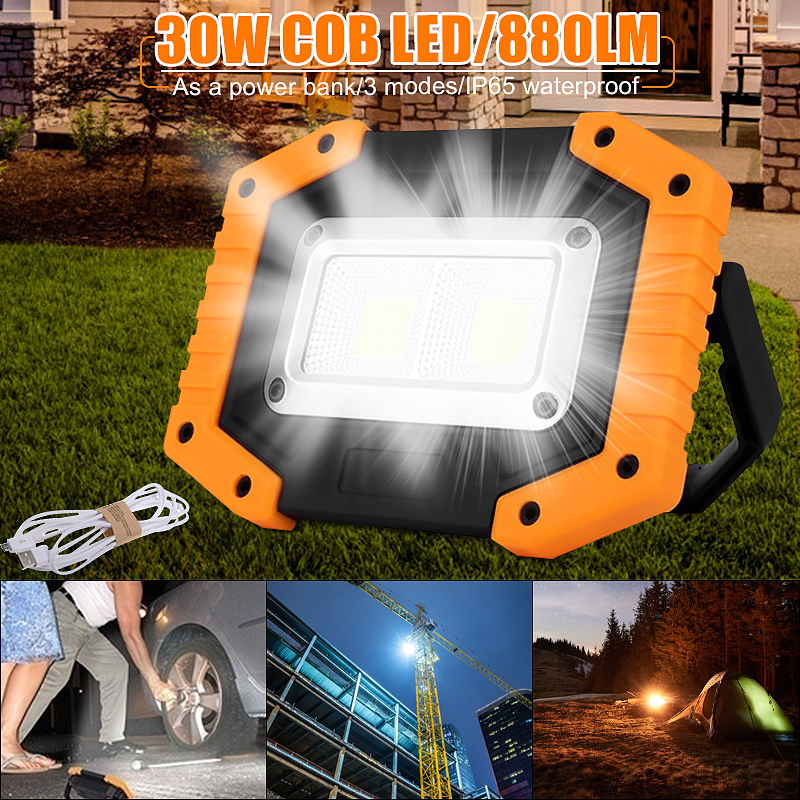 30W COB LED Portable Spotlight Rechargeable Outdoor Working Light For Hunting Camping Lamp Floodlight Searchlight 18650 Battery