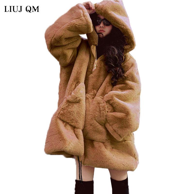 2021 Winter Fur Coat Women Thick Warm Faux Fur Sweatshirt Loose Oversized Hooded Pullover Plush Coat Winter Fur Jackets BC117