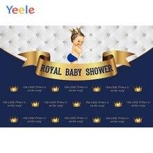 Yeele Baby Shower Backdrop Headboard Crown Newborn Boy Prince Birthday Custom Blue Photography Background Vinyl For Photo Studio