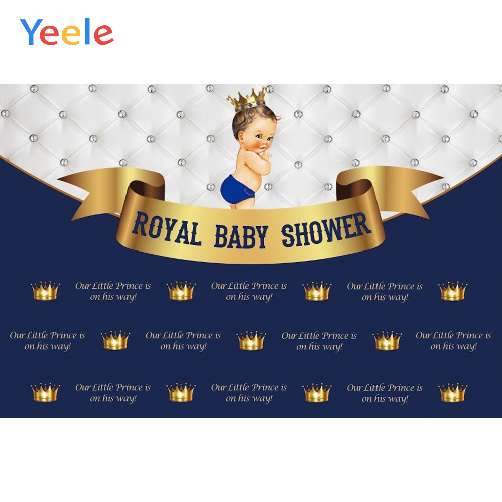 Yeele <font><b>Boy</b></font> <font><b>Baby</b></font> <font><b>Shower</b></font> <font><b>Backdrop</b></font> Headboard Crown Newborn Prince Birthday Custom Blue Photography Background Vinyl For Photo Studio image