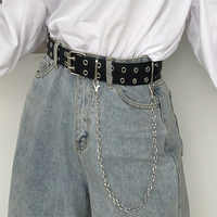 Double Row Hole Belt for Men Women Punk Style Waistband with Eyelet Chain Decorative Belt for Jeans Pants Trousers 2020 New