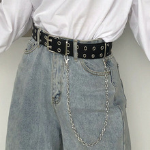 Double Row Hole Belt for Men Women Punk Style Waistband with Eyelet Chain Decora