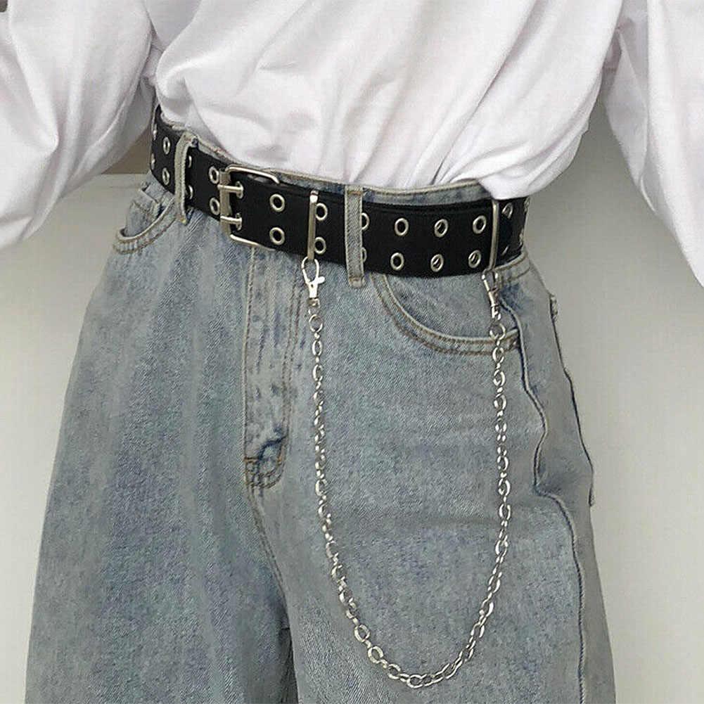 Double Row Lubang Ikat Pinggang untuk Pria Wanita Gaya Punk Ikat Pinggang dengan Lubang Rantai Dekoratif Belt untuk Celana Jeans Celana 2020 baru