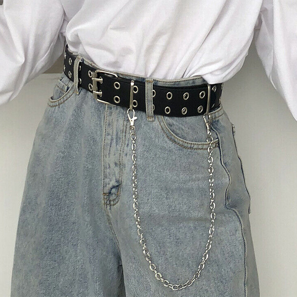 In Stock Double Row Hole Belt For Men Women Punk Style Waistband With Eyelet Chain Decorative Belt For Jeans Pants Trousers Hot